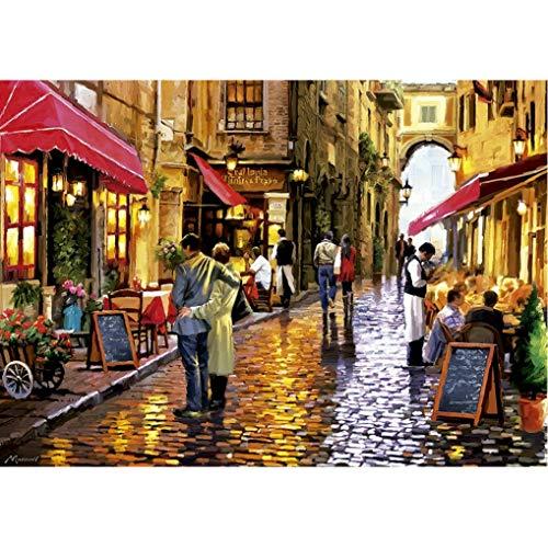 GuDoQi Puzzle 1000 Teile Erwachsene Romantische Kaffee Straße Landschaft Puzzle für Kinder