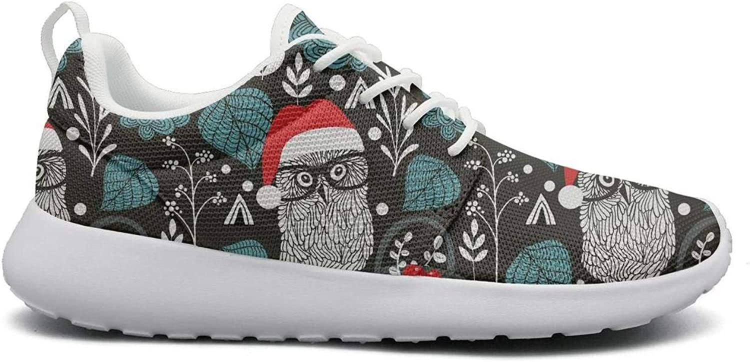 Gjsonmv Christmas Happy Santa Claus Smile mesh Lightweight shoes Women Fashion Sports Hiking Sneakers shoes