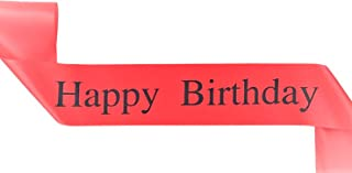 Elegant Red Happy Birthday Sash - Perfect for 18th, 21st, 30th, 40th Birthday Parties - Party Favors, Supplies and Decorations