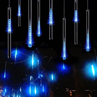 Best Adecorty Falling Rain Lights Meteor Shower Lights Christmas Lights 30cm 8 Tube 144 LEDs, Falling Rain Drop Icicle String Lights for Christmas Trees Halloween Decoration Holiday Wedding (Blue) Review