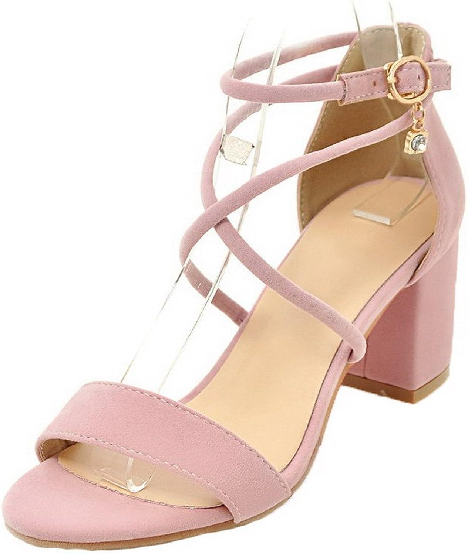 WeenFashion Women's Buckle Frosted Open-Toe Kitten-Heels Sandals, CA18LB04139