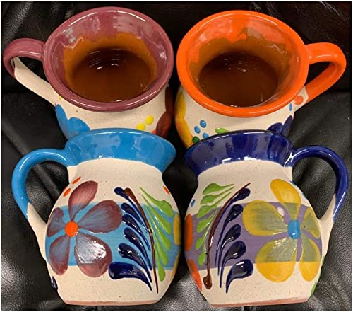 lowest 4 2021 Large Mexican Coffee Mugs new arrival Jarritos Mexicanos Flower design Tazas de Barro Micnocana Ponchero Hot Chocolate Champurrado Tepache Pulque Traditional Clay Party Dish China Made in Mexico online sale