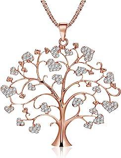 Albero della vita Collana per Donna, Collana con ciondolo celtico di moda con collana a catena lunga CZ Crystal Girls