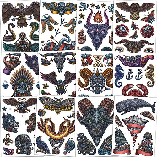 Qpout Tatuajes temporales tribales retros Para hombres, mujeres, adultos, 12 hojas falsas Body Art impermeable medio brazo cara pecho hombro tatuaje pegatinas águilas cráneo búho flor lobo mariposa