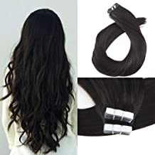 Moresoo 22 Inch Full Head Tape on Human Hair Extensions Remy Hair Seamless Skin Weft Glue on Hair Extensions Straight Soft Hair 100g 40 PC #1B Off Black