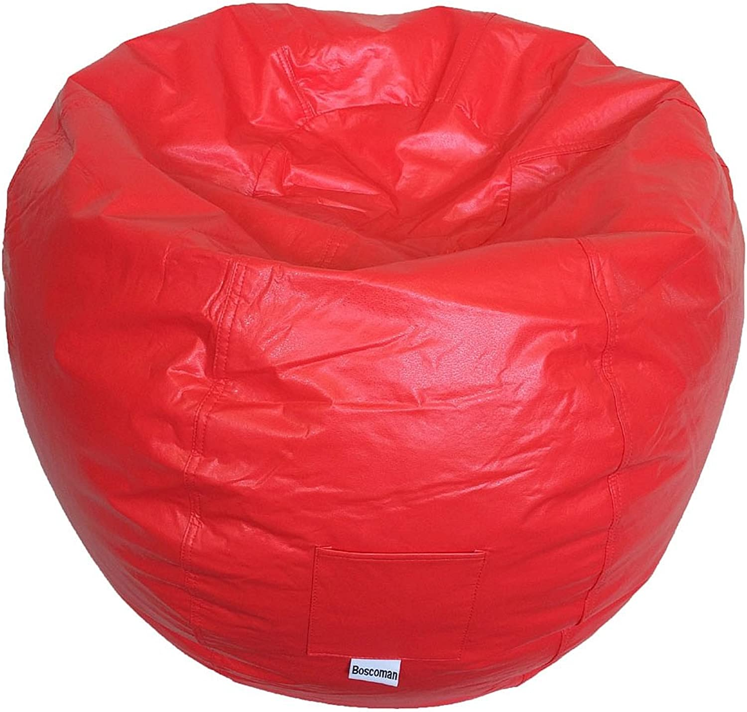 Boscoman - Adult Round Vinyl With Pocket Beanbag Chair - Red Zinnia (BOX M)