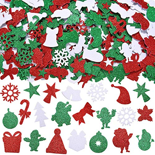 Outus 288 Pieces Glitter Christmas Foam Stickers Self Adhesive Xmas Theme Shapes Stickers Christmas Craft Sticker for Christmas Party Decoration DIY Crafts Supplies