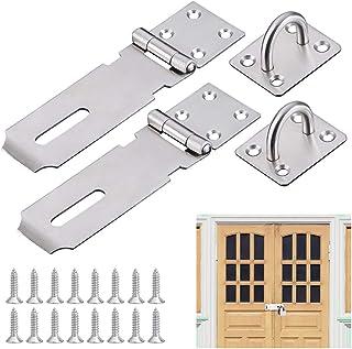 AFASOES Hasp 2 stuks veiligheidsslot, roestvrij staal, deurslot, 12,2 cm (5 inch), veiligheidsoverval, hangslot, deur, has...