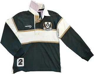 Traditional Craft Ltd. Lansdowne Bottle Green and Natural Ireland Shamrock Long Sleeve Kids Rugby Shirt
