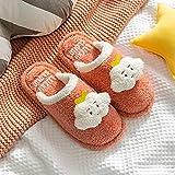 Kirin-1 Pantuflas Invierno Mujer,Zapatillas de algodón, Muebles para el hogar, Mujer, Invierno, Felpa, Invierno, Fondo Grueso, Antideslizante, mudo-37-38_Rojo