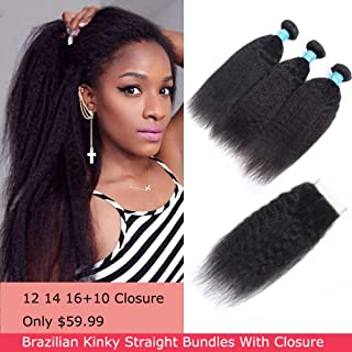 Brazilian Kinky Straight Human Hair Bundles With Closure, 8A Unprocessed Virgin Yaki Hair 3 Bundles With Closure Free Part, Natural Color (12 14 16+10 inches)