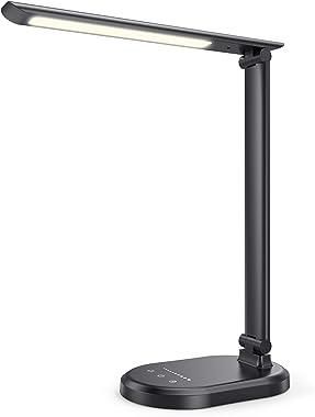 Lampe de Bureau LED HETP Lampe de Table à Intensité Variable USB C 4 Modes D'éclairage + 10 Niveaux de Luminosité Veilleu