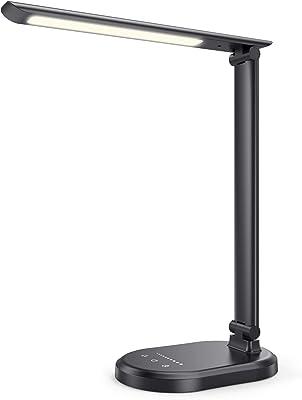 Lampe de Bureau LED HETP Lampe de Table à Intensité Variable USB C 4 Modes D'éclairage + 10 Niveaux de Luminosité Veilleuse de Lecture Pliable à Commande Tactile Éclairage de Table Lampe de Chevet LED