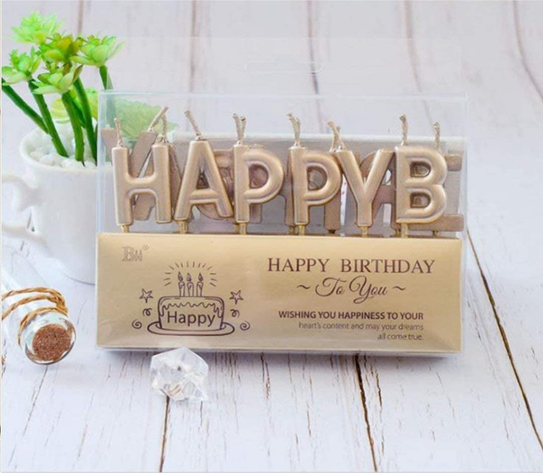 Perfect Wish Gift for Kid and Adult HB-Style6 2 Packs Happy Birthday Love Special Cake Candles Topper with Holder for Wedding Party Birthday Valentines Day Cake Decoration
