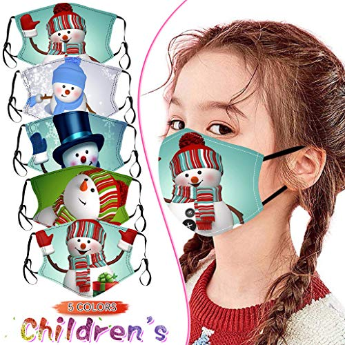 YAYUMI Kids Oral Protection 3D Print Christmas Face Bandanas Washable Dust-Proof Filter Protection 6PC