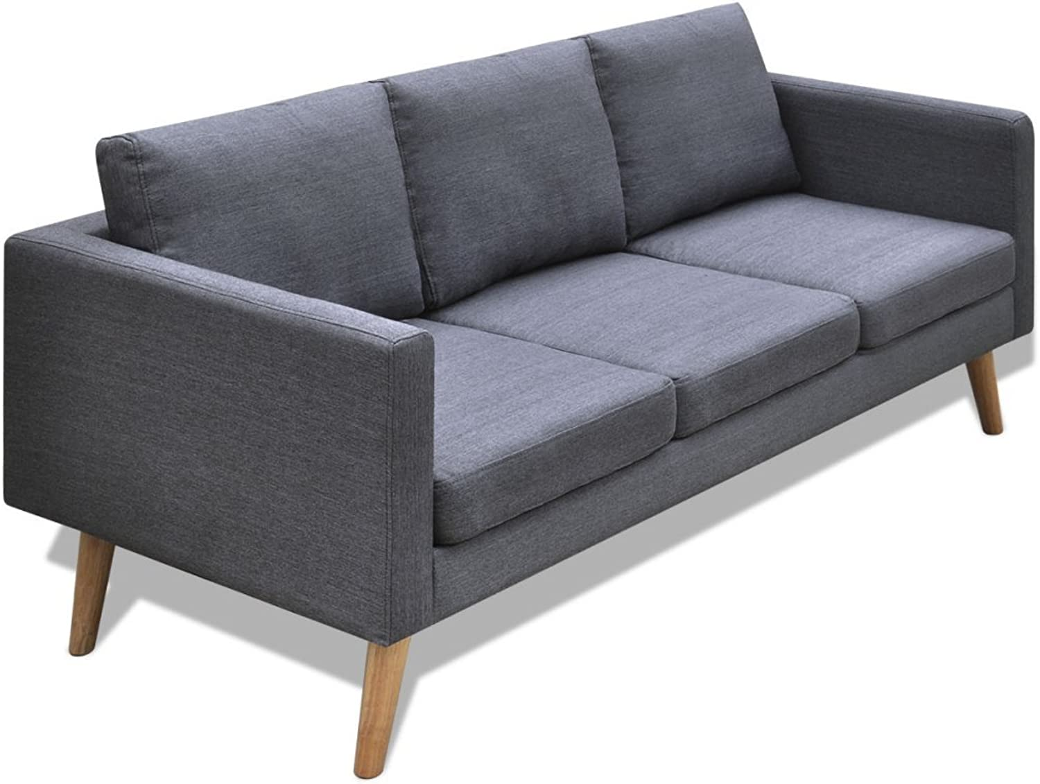 VidaXL Sofa 3-Sitzer Polstersofa Stoffsofa Lounge Couch Holz Design Sitzmbel