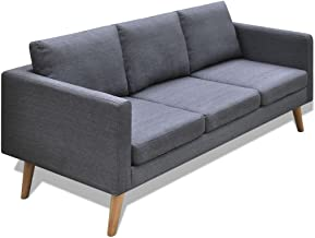 Festnight Dark Grey Fabric Sectional Sofa 3-Seater with Thick Cushion Detachable Office Decoration Simple and Modern