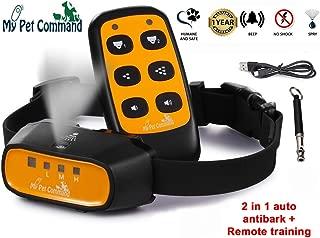 My Pet Command 2 in 1 Auto Citronella bark remote dog training collar Safe Humane for pets Anti bark spray collar with advanced bark detection mode Adjustable sensitivity levels Bonus training whistle