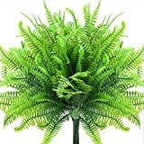 4pcs Artificial Fake Boston Fern Plants Artificial Ferns for Outdoor UV Resistant Plastic Plant