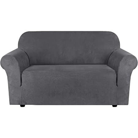 Loveseat Slipcovers For 2 Cushion Couch 1 Piece Furniture Protector Cover With Elastic Bottom Anti Slip Foam Rich Textured Lycra High Spandex Small Checks Pattern Loveseat Charcoal Gray Amazon Co Uk Kitchen Home