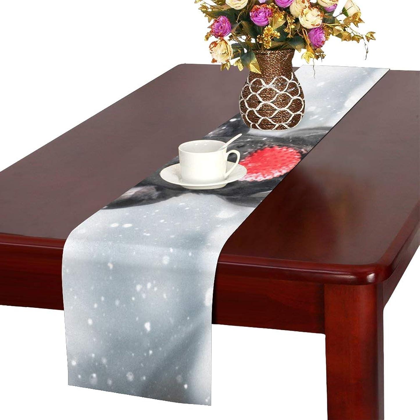財政カートリッジオデュッセウスLKCDNG テーブルランナー かわいい 雪 犬 クロス 食卓カバー 麻綿製 欧米 おしゃれ 16 Inch X 72 Inch (40cm X 182cm) キッチン ダイニング ホーム デコレーション モダン リビング 洗える