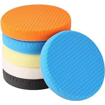 "SPTA 5Pcs 5.5"" Face for 5"" Backing Plate Compound Buffing Sponge Pads Polishing Pads Kit Buffing Pad for Car Buffer Polisher Sanding,Polishing,Waxing"