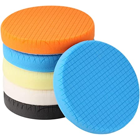 Buffing Polishing Pads, SPTA 5Pc 5.5 Inch Face for 5 Inch 125mm Backing Plate Compound Buffing Sponge Pads Cutting Polishing Pad Kit For Car Buffer Polisher Compounding,Polishing and Waxing -SQPPS5MIX