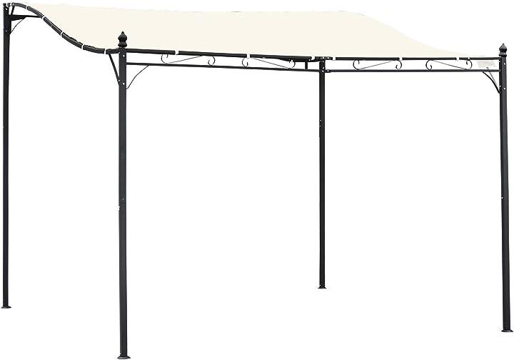 Gazebo pergola 3x3m da esterno, giardino o terrazzo con tenda impermeabile crema outsunny 84C-038
