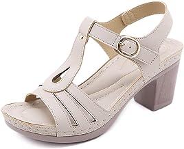 WECDS Sandales D'été Boucle pour Dames Talon Épais Ne Serrant Pas Les Pieds Boucle en Métal Confortable Couture en Microfi...