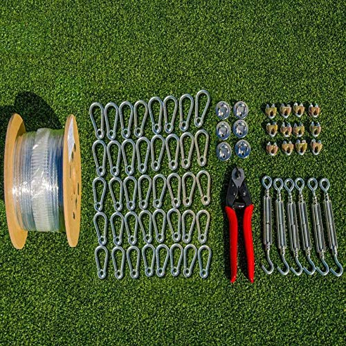 Fortress Batting Cage Netting Wire Tension Kit – Everything You'll Need to Easily Hang A Baseball Batting Cage (55ft)
