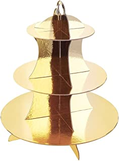 Tytroy Golden 3 Tier Round Cardboard Pastry Stand Reusable Cupcake Tower (12