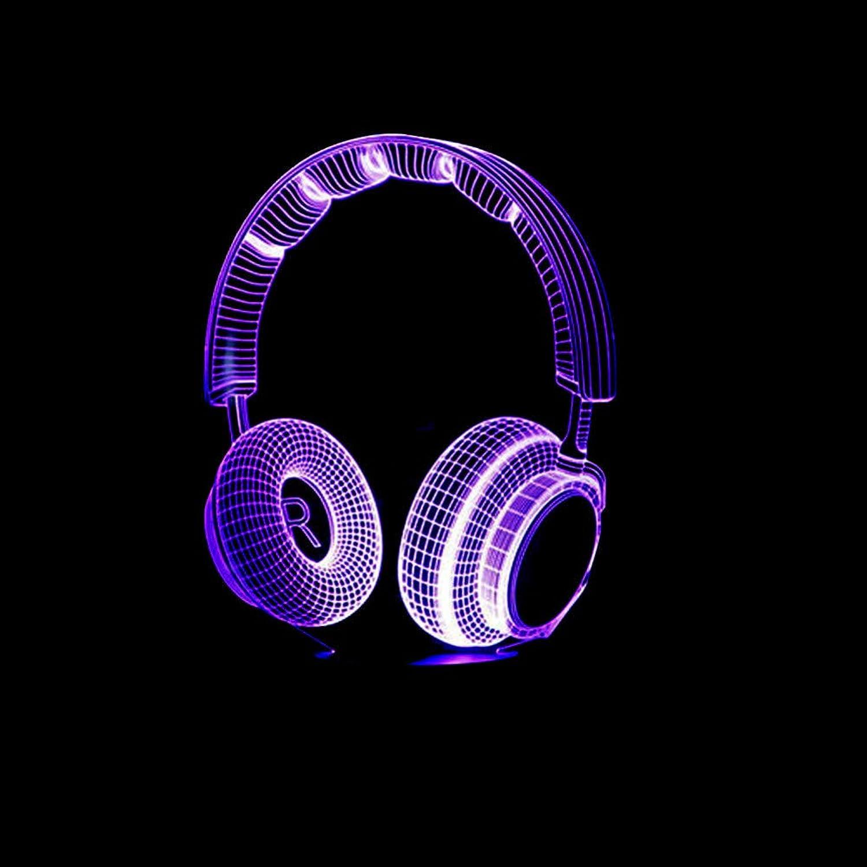 Zyue Headset Acryl 3D Nachtlicht Led Stereo Vision 3D Lichter 7 Farben ndern USB Schlafzimmer Nachtlicht Schreibtischlampe Geschenk,Blautooth-Lautsprecher