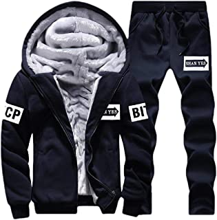 Men's Winter 2 Piece Fleece Tracksuit Soft Thick Hooded Jogging Sweat Suits Warm Coats