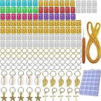 192本のロング編みヘアアクセサリーリングアルミヘアアクセサリー袖口シェルチャームコイル編みペンダントデコレーションクリップ+かぎ針編みフック+ 100mメタルワイヤー+ボックス