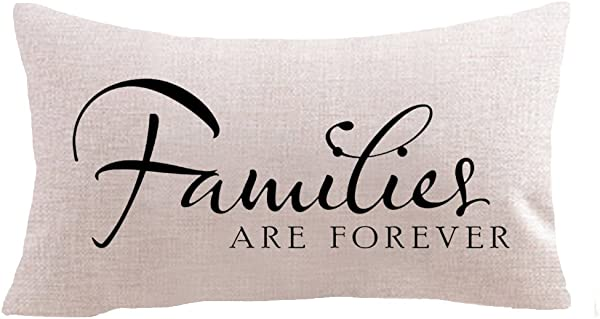 Warm Words Families Are Forever Gifts Cotton Linen Square Throw Waist Pillow Case Decorative Cushion Cover Pillowcase Sofa 12 X 20