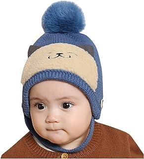 antivento FakeFace Berretto unisex morbido e soffice con paraorecchie per bambini dai 3 ai 12 mesi