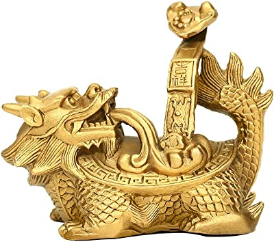"""PopTop Brass 3.8""""(H) Feng Shui Ruyi Longevity Dragon Turtle/Tortoise Statue for Feng Shui Decor, Home Office Decor Figurine Gift Collection PTZY063"""