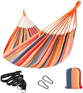 SONGMICS Hammock, 210 x 150 cm, Double Hammock with Fastening Straps and Carabiners, 300 kg Load Capacity, for Terrace, Ba...