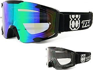 TWO-X Bomb Crossbrille schwarz Glas Light verspiegelt grün MX Brille Motocross Enduro Spiegelglas Motorradbrille Anti Scratch MX Schutzbrille Für Preis bitte klicken