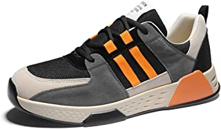 AUCDK Men Fashion Sneakers Suede and Mesh Splice Breathable Casual Trainers with Non Slip Shock Absorbing Thicken Sole