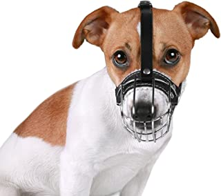 BronzeDog Wire Basket Dog Muzzle Jack Russell Terrier Metal Leather Adjustable Puppy Small