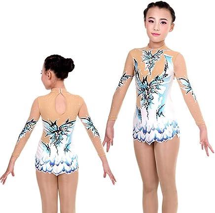 Justaucorps de Gymnastique Rythmique /élasticit/é pour Fille Robe de Performance Costume de Comp/étition de Gymnastique Artistique /à la Main Manche Longue Dames avec Strass Bleu Fonc/é