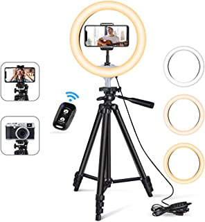 10'' Ring Light with 50'' Extendable Tripod Stand, Sensyne LED Circle Lights with Phone Holder for Live Stream/Makeup/YouT...