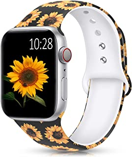 HUMENN Band Compatible with Apple Watch 38mm 40mm 42mm 44mm,Fadeless Pattern Printed Floral Silicone Replacement Bands for iWatch Series 5,4,3,2,1/Women Men Sunflower 38mm/40mm S/M