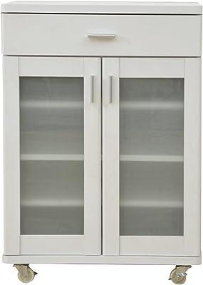 山善 食器棚 幅60.5×奥行39.5×高さ85cm ミストガラス 棚板高さ調節可能 引き出し キャスター付き ベリーベリーキッチン 組立品 ホワイト FEK-C8560GC(WH)