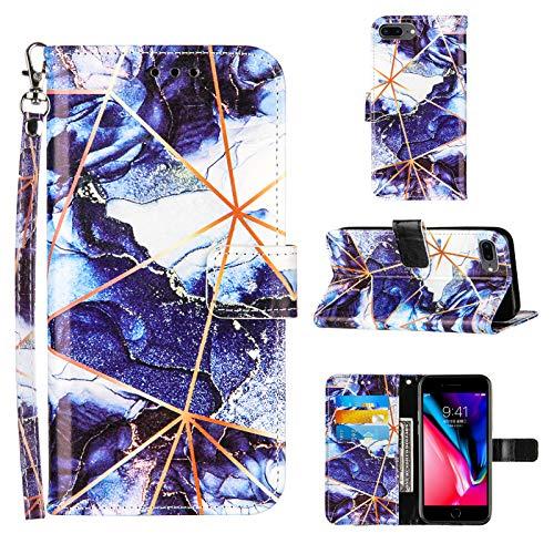 UBrand JRIANY Funda para iPhone 8 Plus/iPhone 7 Plus Funda Mármol Carcasa Cartera Libro de Cuero con Tapa Magnético Soporte Ranuras de Tarjetas y Billetera Mujer Cover Protectora Anti, Púrpura
