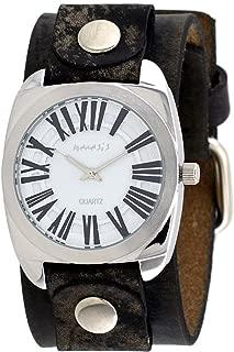 Nemesis #NFBB098W Men's Roman Retro Collection White Dial Wide Leather Band Watch