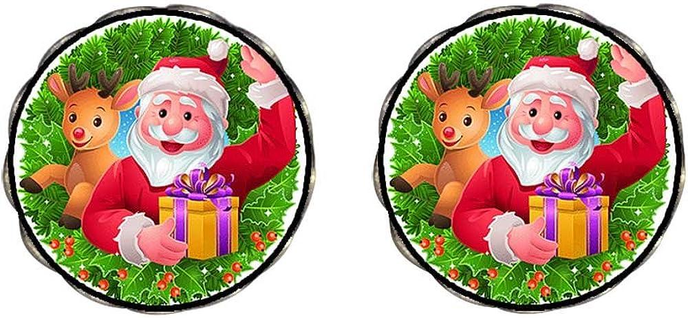 GiftJewelryShop Bronze Retro Style Happy Santa Claus Photo Clip On Earrings Flower Earrings 12mm Diameter