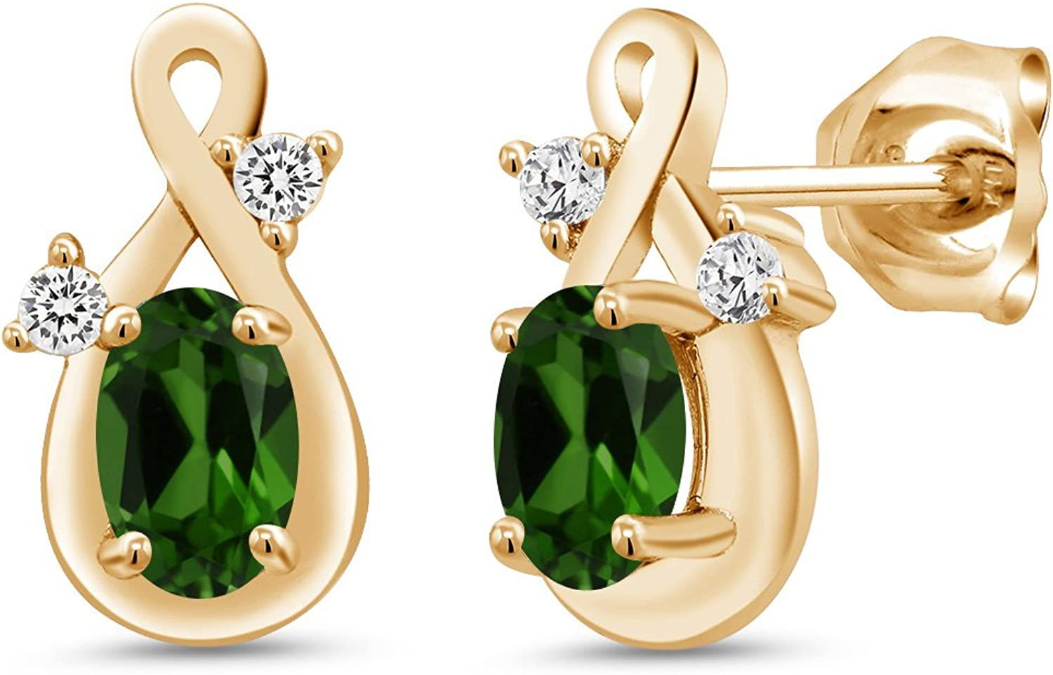 0.93 Ct Oval Green Chrome Diopside 18K Yellow gold Plated Silver Earrings