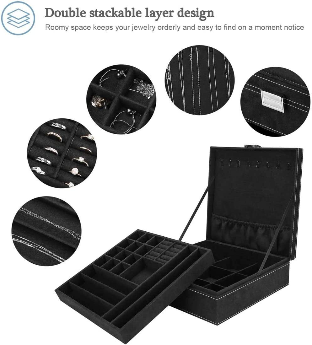 Velvet Jewelry Storage Case with Necklace Hangers Removable Compartment Bl. Double Stackable Layer for Women JKL Jewellery Box Organiser for Necklace Earrings Bracelets Rings Removal Tray